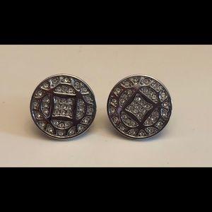 Fossil Logo Stud Button Silver-Tone Earrings